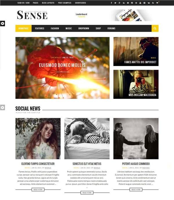 Sense blog theme