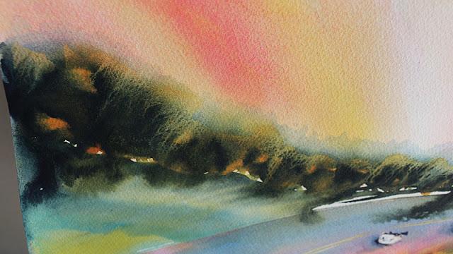 Watercolor painting trees by Olga Peregood. Fragment