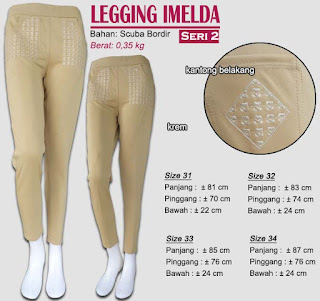 Celana legging bahan scuba plus bordir