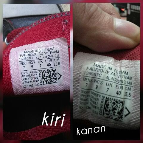 Tulisan yang banyak angka sama huruf di bawah kalimat Fabrique Au Vietnam  itu nomor seri sepatunya. Sepatu asli Converse punya kombinasi angka dan  huruf ... d416d3313d