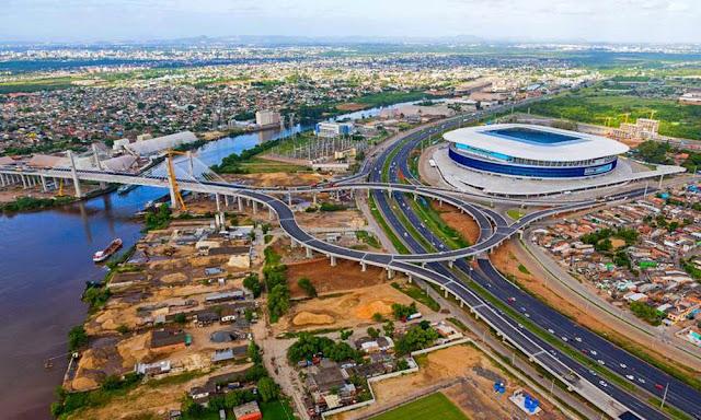 Arena do Grêmio e ponte estaiada
