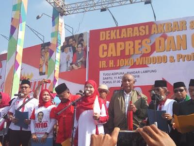 Eva Dwiana Pimpin Deklarasi Relawan Lampung Untuk Jokowi