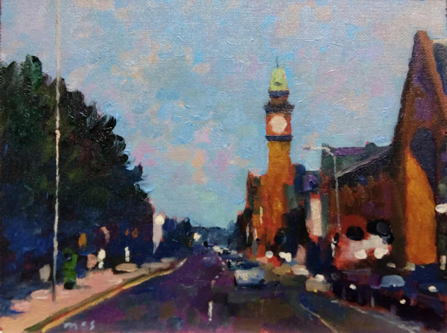 """An alla prima daily painting study of Rathmines in oils on canvas board 6"""" x 8"""""""