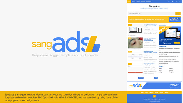 Sang Ads Blogger template responsive high CTR
