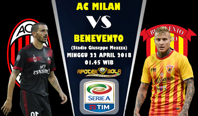 Prediksi AC Milan vs Benevento 22 April 2018
