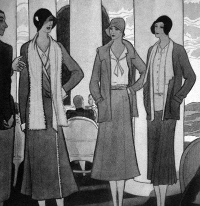 Collection of Coco Chanel's Illustrations of 1930's slim skirted suits and dresses for Vogue UK