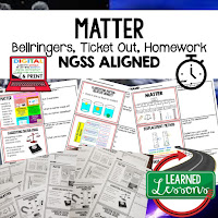 Matter Bellringers, Physical Science Warm-Ups, Science Warm-Ups, Science Inquiry Warm-Ups, Physical Science Bellwork, Science Bellwork, NGSS Bellwork, Science Bellringers
