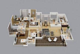pelan lantai rumah banglo setingkat 4 bilik