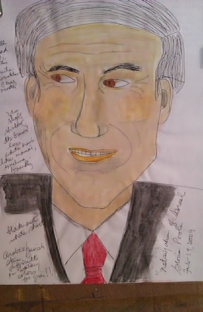 Israeli PM sketch by Gloria Poole