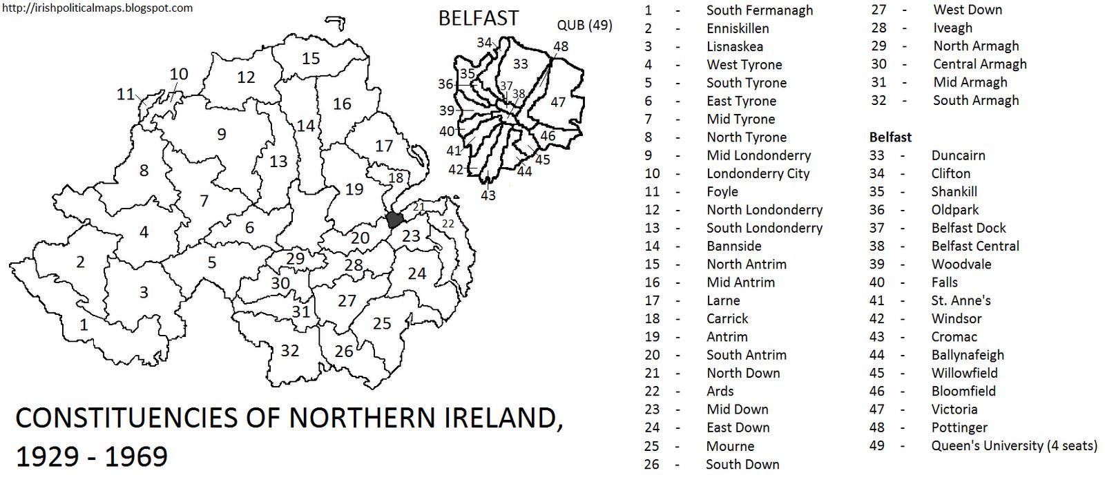Irish Political Maps: Constituencies of Northern Ireland