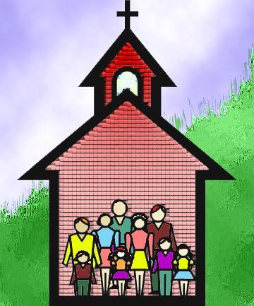 Imagen de una iglesia con personas a color