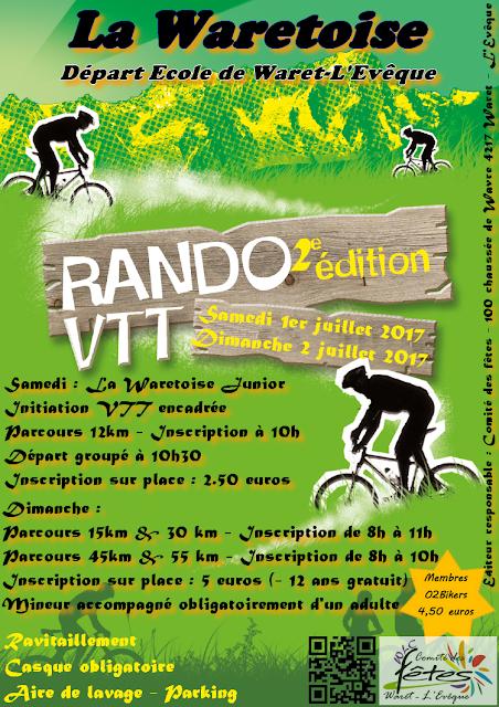 Randonnée VTT junior 12km - Radonnée VTT 15km-30km-45km-55km Waret l'Évêque (Héron)