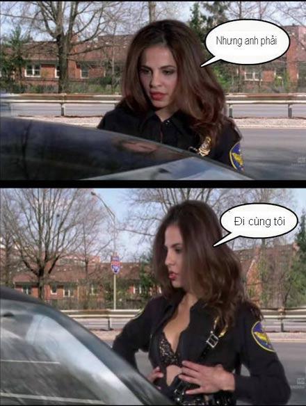 Hình ảnh vui: Ghẹo nữ cảnh sát giao thông
