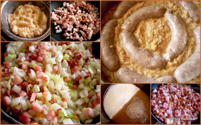 babka ziemniaczana, kugiel, kartoflak, baba ziemniaczana z białą kiełbasą, biała kiełbasa, zapiekanka ziemniaczana, kartofle, ziemniaki, sos grzybowy