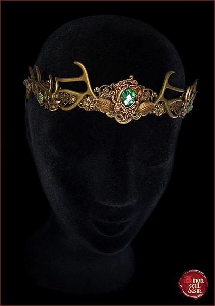 couronne bois de cerf bronze vert foret nymphe dryade medieval renaissance crown antlers circlet deer faune faun forest headdress fairy woodland