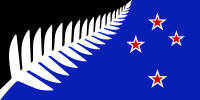 Proposed new flag design for New Zealand: Silver Fern (Black, White and Blue) by Kyle Lockwood, Option D on the ballot in the November-December 2015 referendum vote