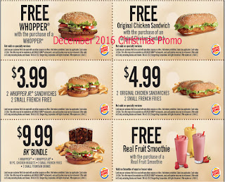 free Burger King coupons december 2016