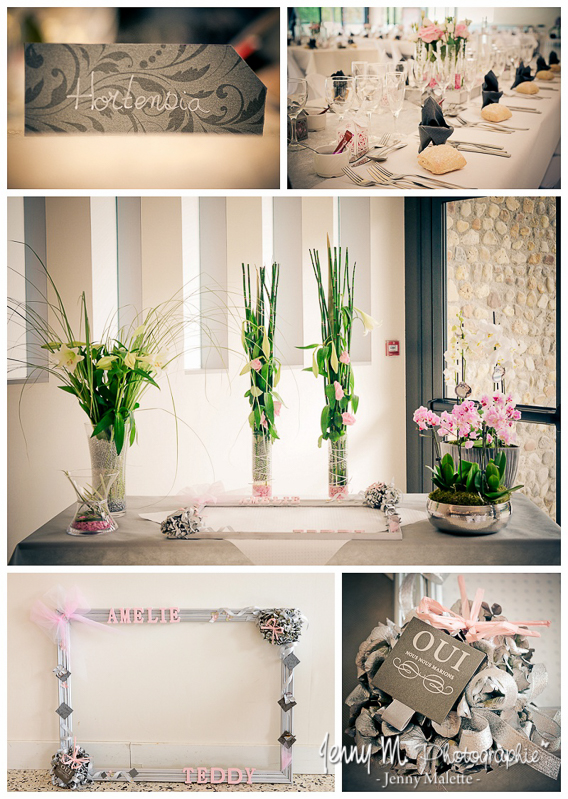 mariage idée déco thème gris et rose repas salle la forêt aizenay