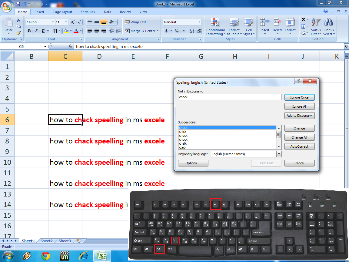 Shortcut key for Spelling Check in MS Excel,shortcut key to check spell in excel,how to correct spelling mistake in excel,excel spell checker,keyboard shortcut key,excel tricks,excel tips,how to correct spell in excel,excel 2003,excel 2007,2010,2013,Microsoft Excel (Software),Spell Checker (Software),F7,Alt+C,check spelling mistake,how to check spelling in excel,shortcut key for spell correction,spell correction,spell mistake checker,excel spreadsheet