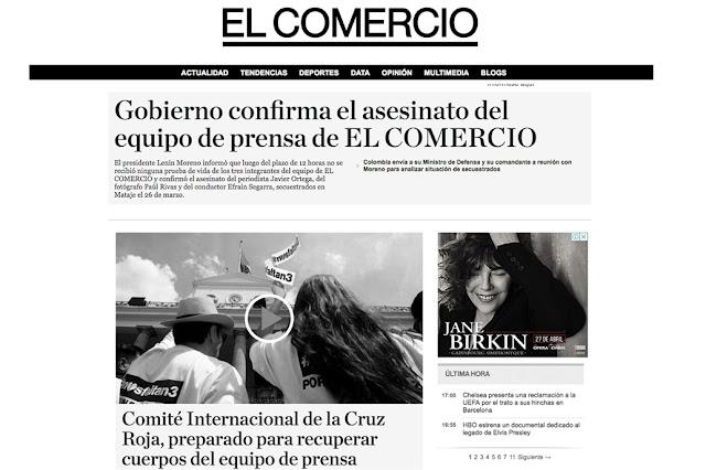 """Ecuador: el diario El Comercio, """"de luto"""" por el asesinato de los periodistas"""