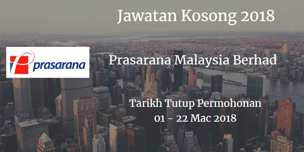 Jawatan Kosong Prasarana Malaysia Berhad 01 - 22 Mac 2018