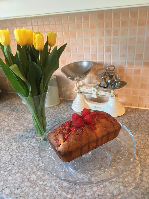 Summer fruits loaf cake recipe featuring raspberries