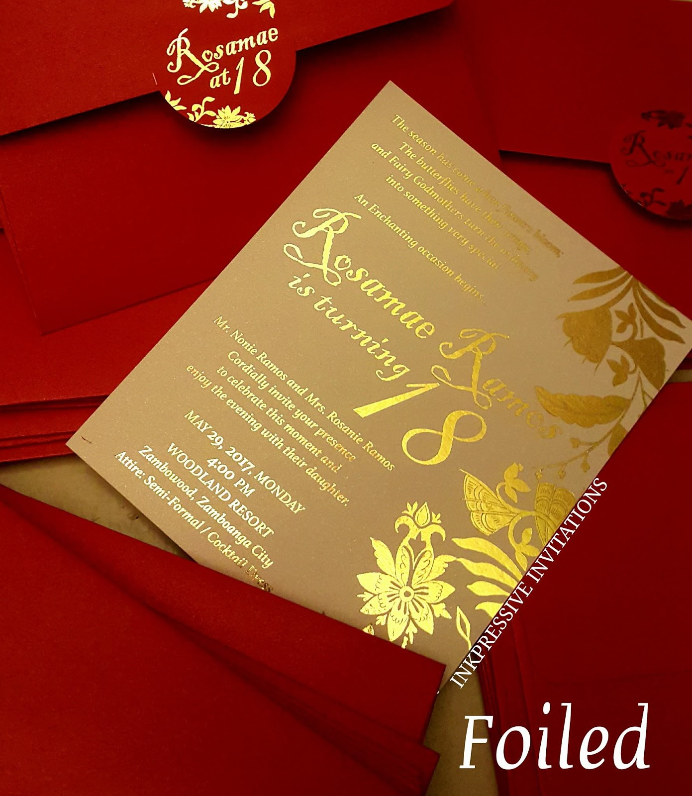 Inkpressive invitations gold foiling a debut invitation and circle label stopboris Choice Image