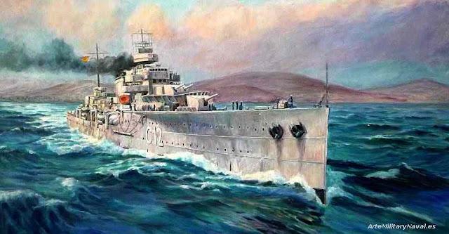 Oleo crucero Almirante Cervera extracto