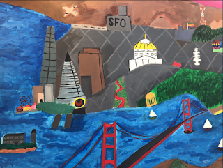A painting that shows the Golden Gate Bridge and other famous San Francisco landmarks