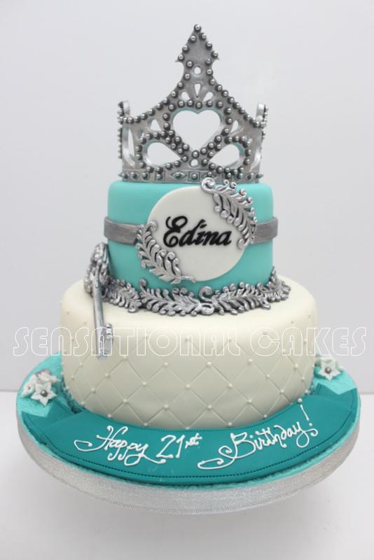 Cakes2share Singapore Silver Blue 21st Birthday Tiara