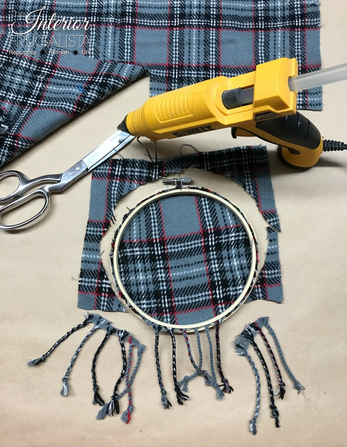 Festive Recycled Plaid Sweater Ornament Salvaged Tassels