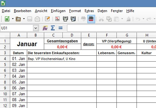Klassisches haushaltsbuch im excel format freeware kostenlos for Kuchenplan erstellen