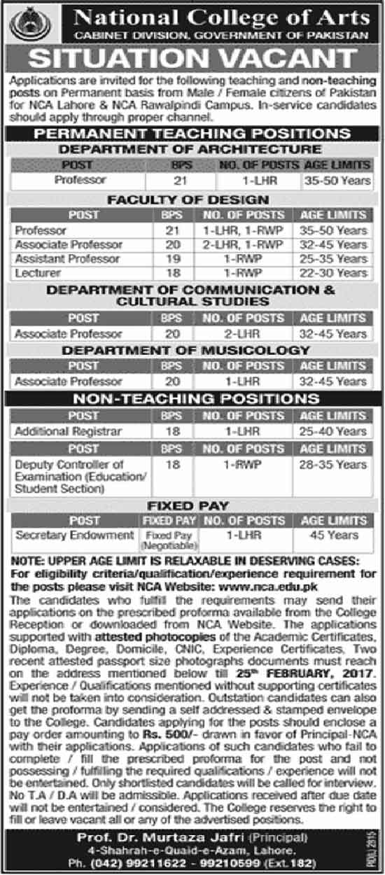 National College Of Arts Lahore Jobs 11 February 2017