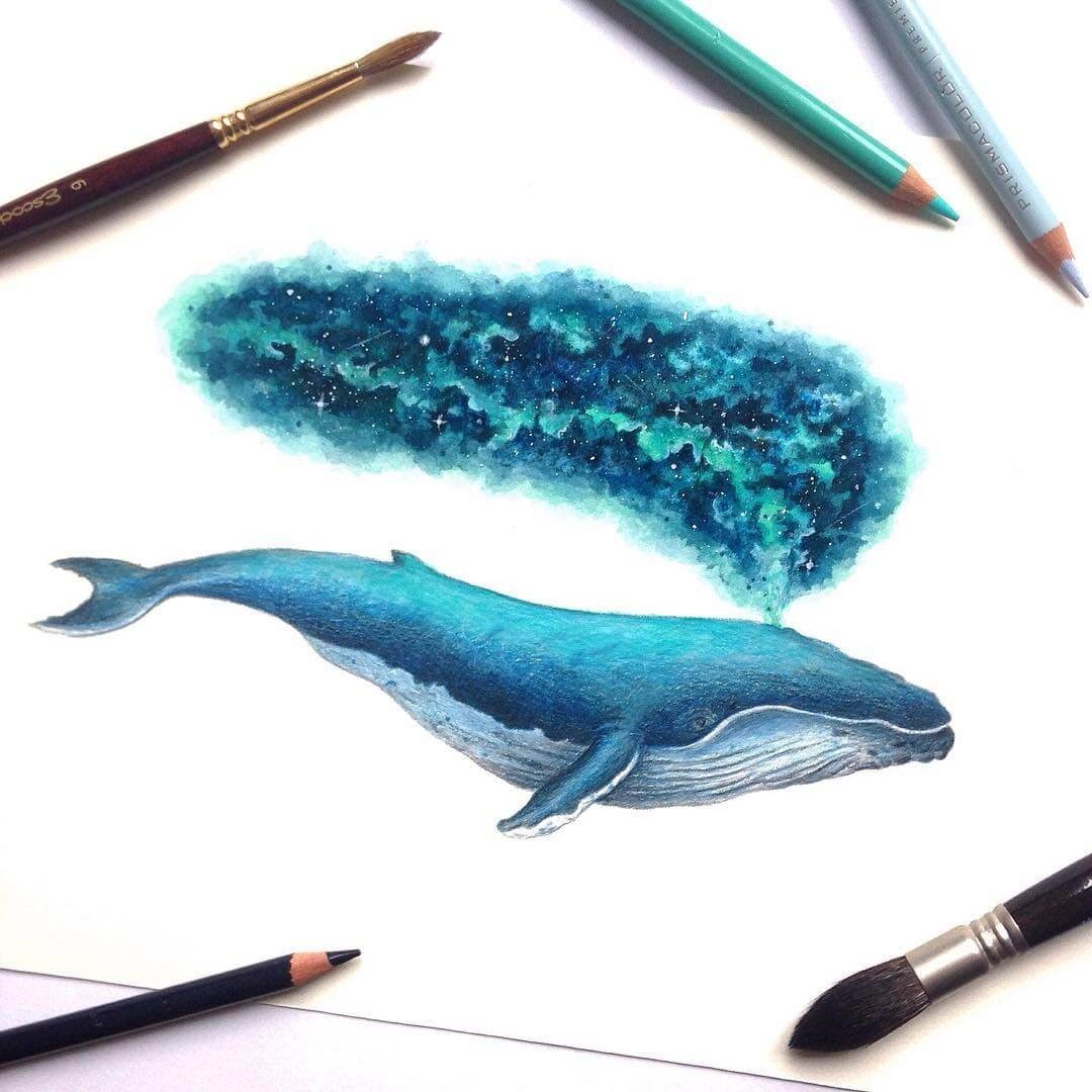 05-Whale-David-Ambarzumjan-Cosmic-Space-Fantasy-Animal-Drawings-and-Paintings-www-designstack-co