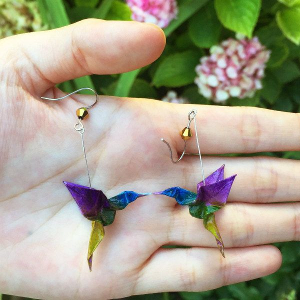 pair of painted origami hummingbird earrings
