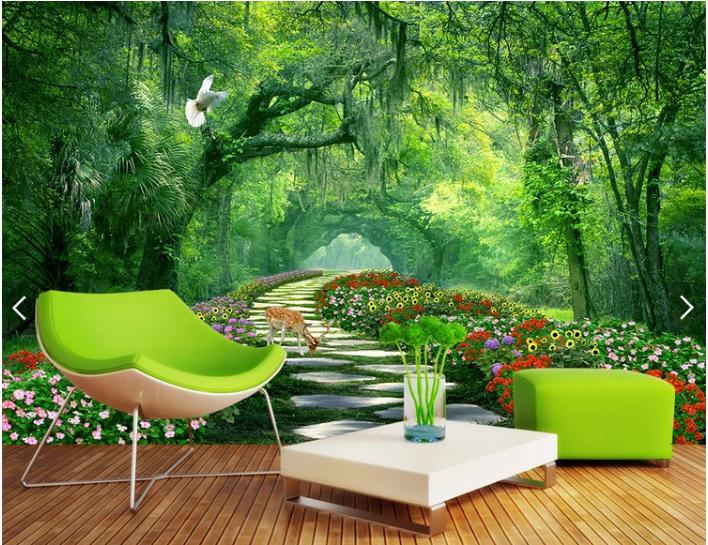 Tranh phong cảnh rừng hoa cho phòng khách phòng làm việc đẹp
