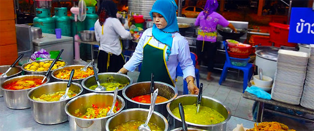 Thai street food with soup and curry