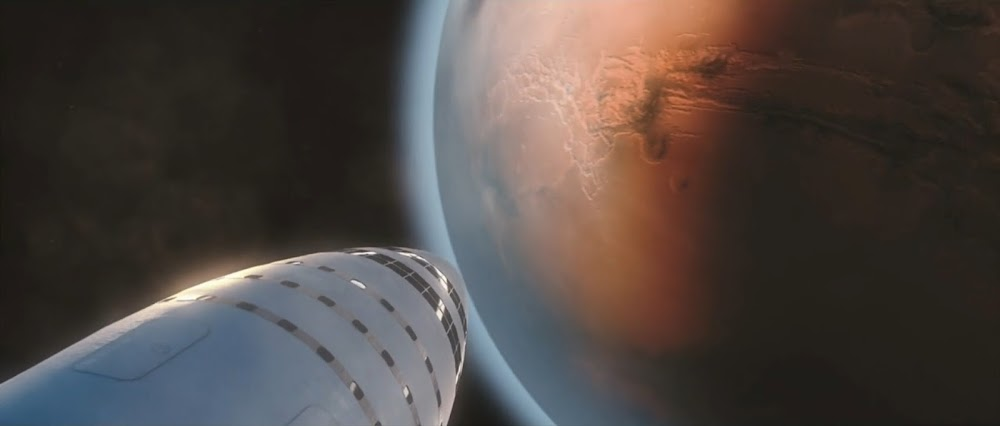 SpaceX Big Falcon Rocket (BFR) spaceship approaching Mars