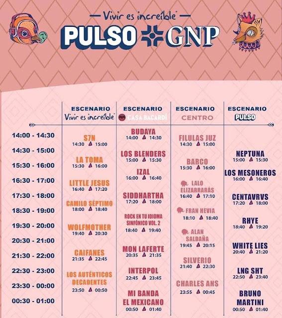 PULSO GNP, HORARIOS