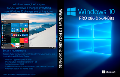 Windows 10 PRO x86 e x64-Bits DVD Capa