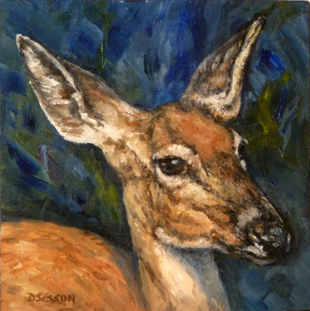 Daily Painting Projects Doe Portrait Oil Deer Art Wildlife Animals