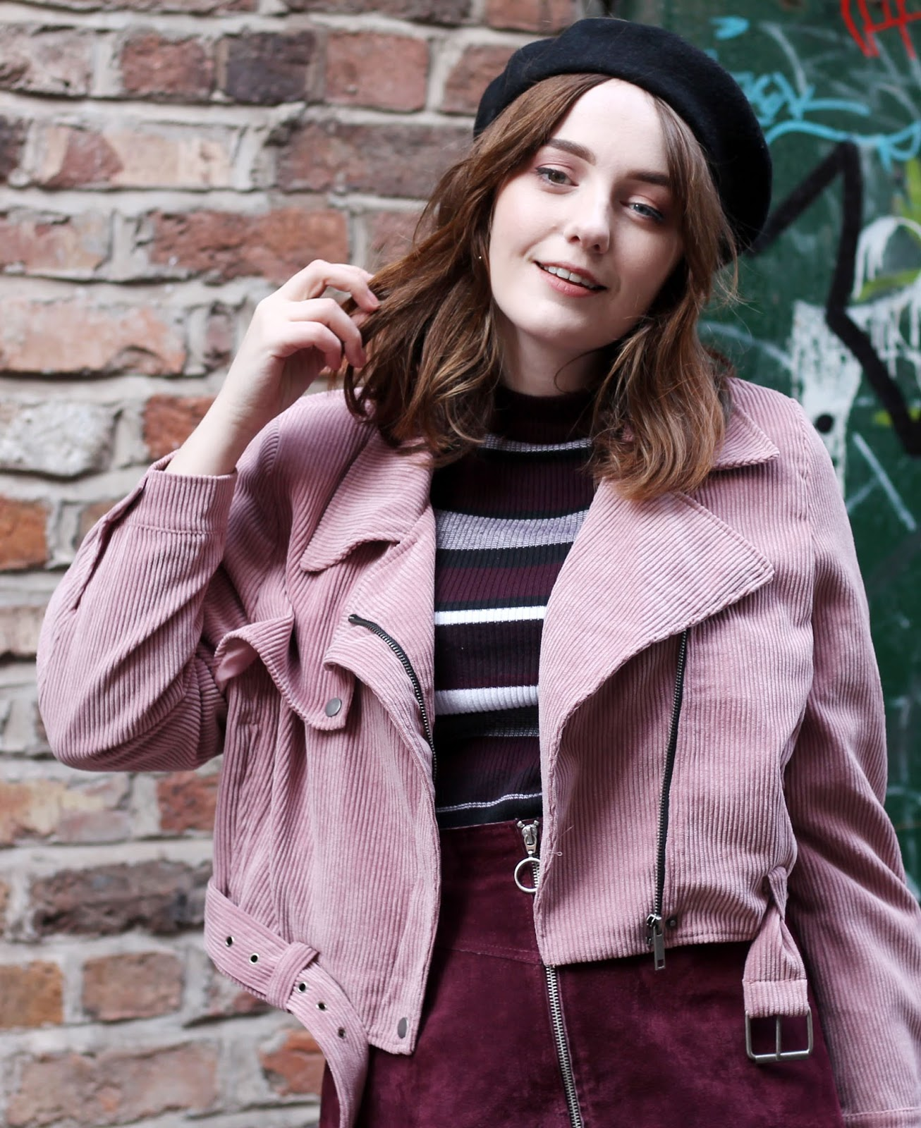 UK style blogger pink biker jacket black beret