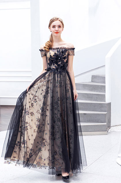 off the shoulder black prom dress with tulle fabric