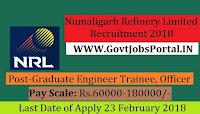 Numaligarh Refinery Limited Recruitment 2018– 21 Graduate Engineer Trainee, Management Trainee & Officer