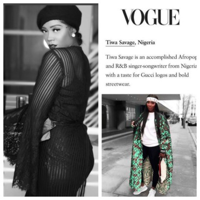 Tiwa Savage highlights in Vogue Magazine's 10 world most in vogue big names on IG l