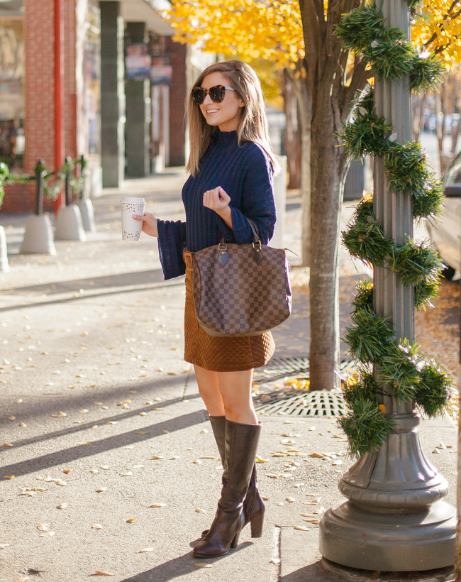 goodnight macaroon brown quilted skirt
