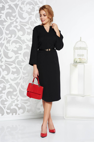Rochie neagra office tip creion din stofa usor elastica cu accesoriu tip curea cu decolteu in v