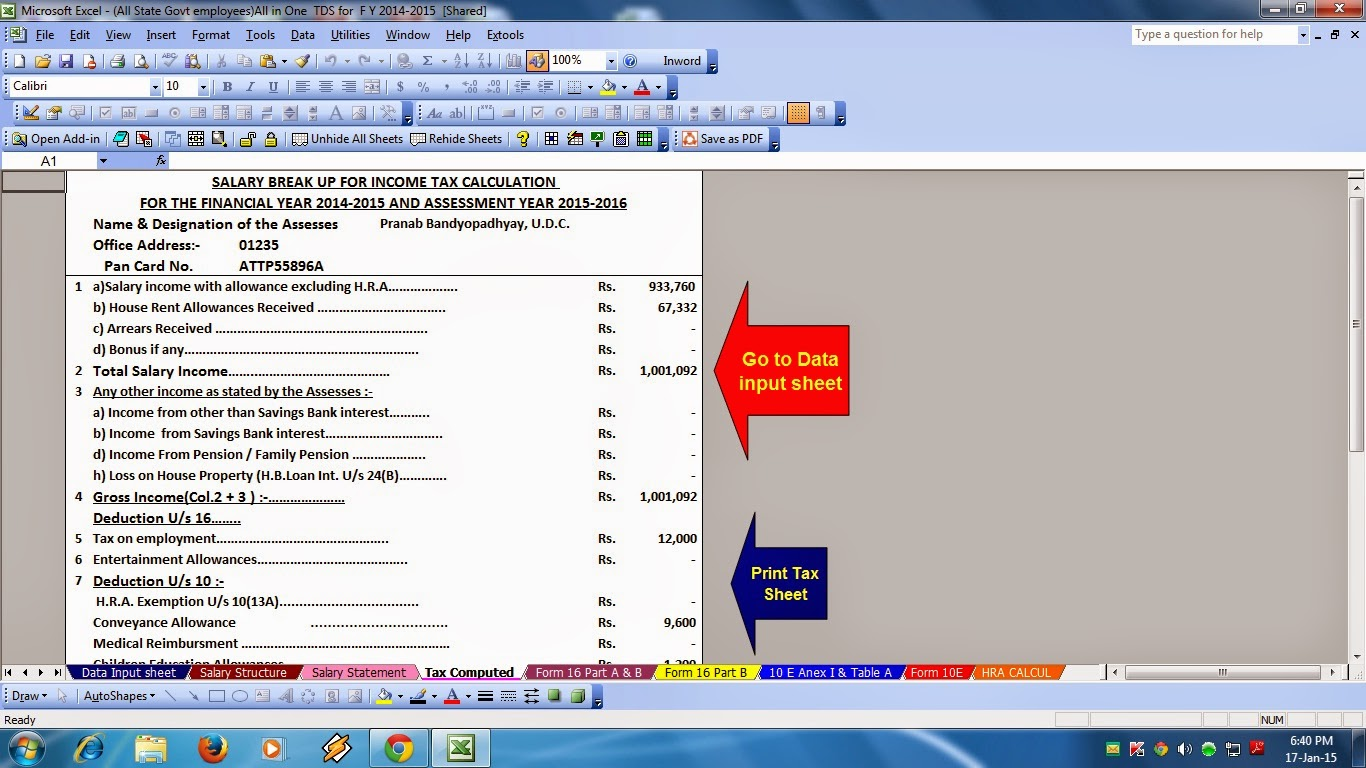 Prepare At A Time Any State Employees Tax Compute Sheet Salary Structure Hra Calculation Form