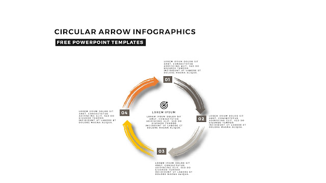 Circular Brush Stroke and Arrow Infographic Free PowerPoint Template Slide 7