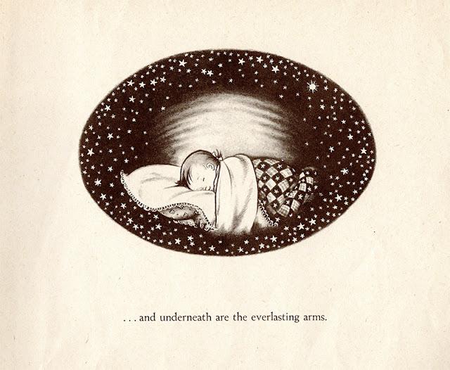 Girl sleeping under stars illustration by Elizabeth Orton Jones
